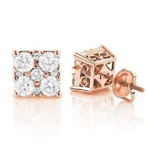 Luxurman Lux 14k White Gold 2ct TDW Diamond Stud Earrings (Rose), Women's, Pink