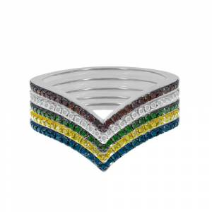 Overstock Prism Jewel 10k 0.70Ct Multi Color & G-H/I3 Diamond V Shaped Wedding Ring Set (Size: 6.5 - Rose), Women's, Multicolor