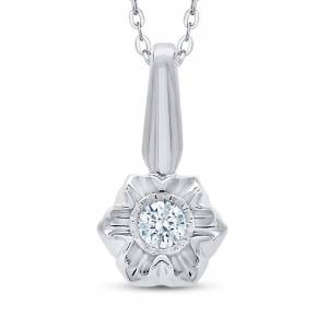 Overstock 14K White Gold 1/10ct TDW Diamond Miracle Plate Floral Pendant (I-J, I1) (White - Size: 18 Inch), Women's