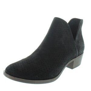 Lucky Brand Women's Baley Stacked Heel Ankle Bootie (Medium - Black Nubuck - 5.5 Medium (B,M))(leather)