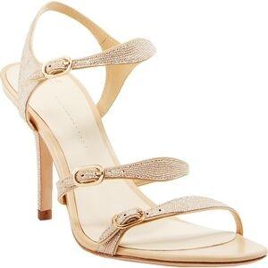 Aerin Womens Dress Sandals Ankle Strap Metallic - Beige Lizard Glitter Embossed - 10 Medium (B,M) (Beige Lizard Glitter Embossed - Medium - 10 Medium