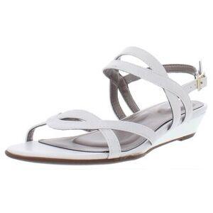 Rockport Womens Total Motion Zandra Slingback Sandals Faux Leather Strappy - White (9.5 Medium (B,M)), Women's