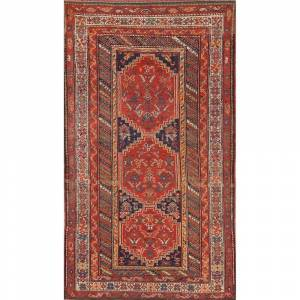 "Antique refurbished Bidjar Antique Traditional Oriental Hand Knotted Wool Persian Area Rug - 8' 1"" x 4' 5"" (8' 1"" x 4' 5"" - Red)"