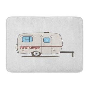 Colorful Vintage Rv Car Retro Recreational Vehicle Camper Van Caravan Mobile Doormat Floor Rug Bath Mat 30X18 Inch - Multi (Multi), Multicolor