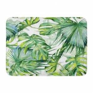 Green Leaf Watercolor Of Tropical Leaves Dense Jungle Hand Tropic Summertime Colorful Pattern Doormat Floor Rug Bath Mat - Multi (Multi), Multicolor