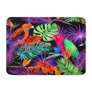 Tropical Leaves Exotic Flowers Parrot Birds In Neon Jungle Pattern Watercolour Doormat Floor Rug Bath Mat 23.6X15.7 Inch - Multi (Multi), Multicolor