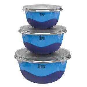Robert Irvine 6-Piece Microwave-Safe Mixing Bowl and Lid Set, Blue