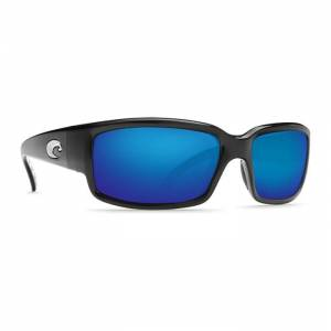 Costa Del Mar Caballito Polarized Sunglasses with Blue Mirror Lens  - Shiny Black - Size: One Size