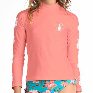 Billabong Girl's Surf Days Long Sleeve Rashguard  - Sunkissed Coral - Size: Small