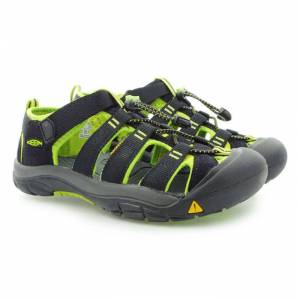 Keen Boy's Newport H2 Casual Shoes  - Black/Lime - Size: 3