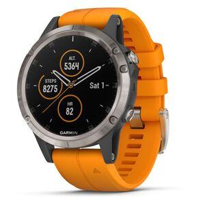 Garmin fenix 5 Plus Sapphire, Titanium Multisport GPS Watch  - Titanium/Solar Flare Orange - Size: One Size