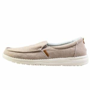 Hey Dude Women's Misty Chambray Casual Shoes  - Beige - Size: 6