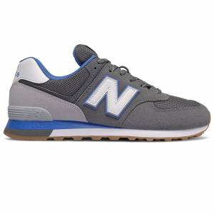 New Balance Men's 574 Casual Shoes  - Lead/Faded Cobalt - Size: 10.5