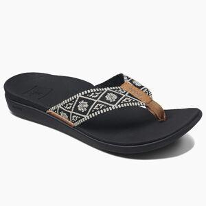 Reef Women's Ortho Bounce Woven Flip Flops  - Black/White - Size: 10