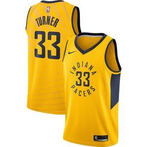 Nike Men's Indiana Pacers Myles Turner #33 Gold Dri-FIT Statement Swingman Jersey, XL, Yellow - Yellow - Size: XL