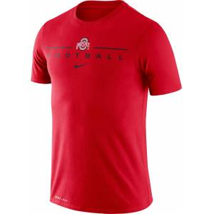 Nike Men's Ohio State Buckeyes Scarlet Dri-FIT Cotton Football T-Shirt, Small, Red