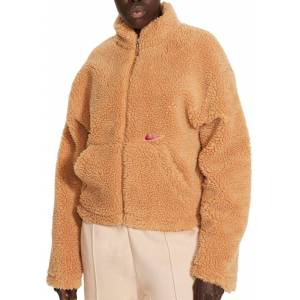 Nike Women's Sportswear Swoosh Sherpa Jacket, Large, Flax