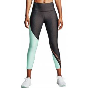 Under Armour Women's HeatGear Armour Wordmark Cropped Leggings, XL, Charcoal L Heather/beta - Charcoal L Heather/beta - Size: XL