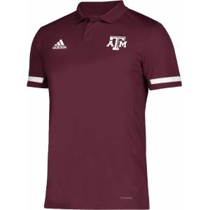 adidas Men's Texas A&M Aggies Maroon Team 19 Sideline Football Polo, Medium, Red