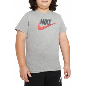 Nike Boys' Sportswear Faux Embroidered T-Shirt (Extended Sizes), M+, Dk Grey Heather
