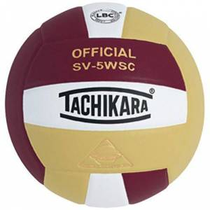 Tachikara SV-5WSC Indoor Volleyball, Cardinal/Vintage Gold