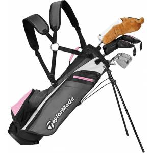 """TaylorMade Rory Junior 11-Piece Complete Set – (Height 52"""" – 60""""), Right Hand, Kids, Grey/Pink"""