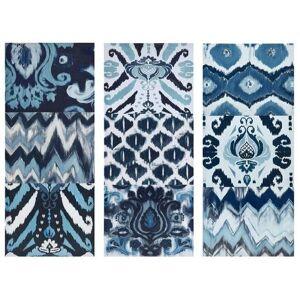 Madison Park Flourish Ikat 3-pc. Wall Art Set -Blue