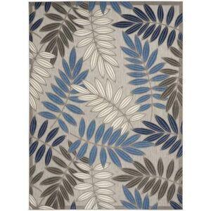 Nourison Palm Leaf Outdoor Area Rug -Blue/Grey
