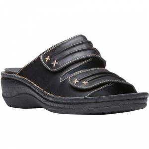 Propet USA Womens June Slide Sandals -Black