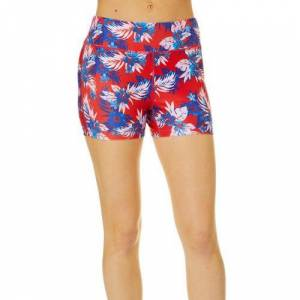 Reel Legends Juniors Beach Pro Americana Hibiscus Shorts -Multi/Red