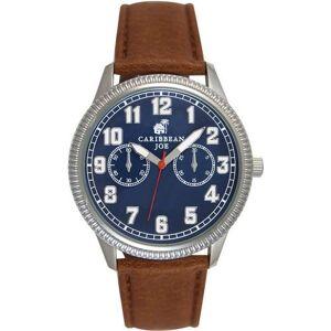 Caribbean Joe Mens Blue Face & Brown Strap Watch -Blue/Brown