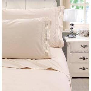 Cathay Home Embroidered Microfiber Sheet Set -Beige
