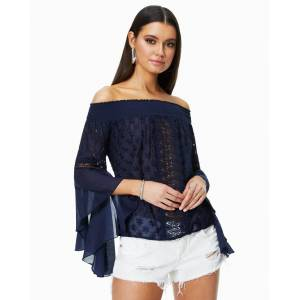 Elsie Embroidered Top in Spring Navy - Size: Large