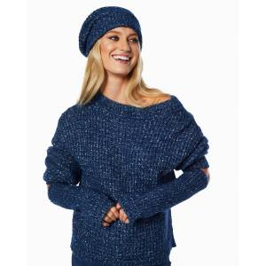 https:/cdn.shopify.com/s/files/products/rtw 11 h2 A110 winterhat navy 2911.jpgv1603408329 Frosted Knit Beanie in Navy - Size: One Size