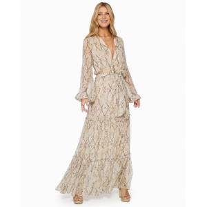 Printed Enya Tiered Maxi Dress in Desert Sand - Size: Extra Large