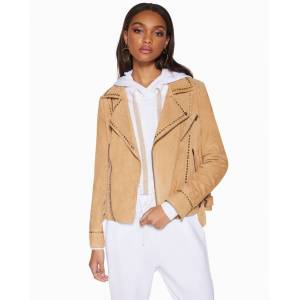 Clyde Suede Jacket in Sand - Size: Large