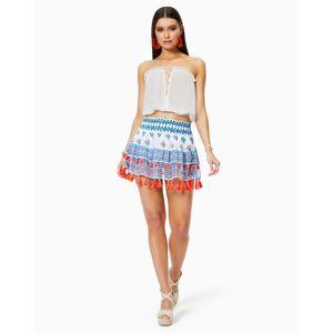 Printed Behati Tiered Mini Skirt in White Geo - Size: Medium