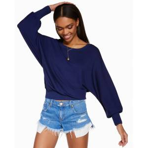 https:/cdn.shopify.com/s/files/products/lounge 02 lounge l0221223 hilary springnavy 4737.jpgv1612554746 Hilary Long Sleeve Crewneck in Spring Navy - Size: Extra Small