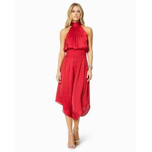 Bella High Neck Midi Dress in True Red - Size: Large