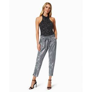 Sparkle Allyn Paperbag Waist Pant in Silver - Size: Extra Small