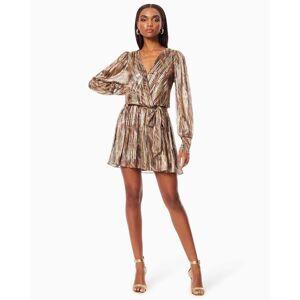 Rumer V-neck Mini Dress in Metallic Stripe - Size: Extra Large