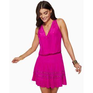 Miranda Smocked Mini Dress in Diva Pink - Size: 2X-Small