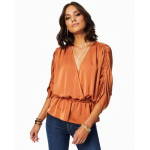 Suzette V-neck Blouse in Terracotta - Size: 2X-Small