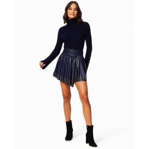 Sabrine Leather Mini Skirt in Navy - Size: 12