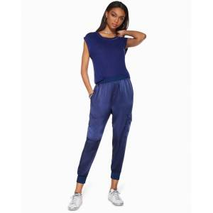 Teegan Cropped Jogger in Navy - Size: Large