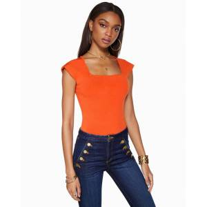https:/cdn.shopify.com/s/files/products/rtw 02 spring1 a0321701 shelbie crimsonorange 0955.jpgv1614213188 Shelbie Square Neck Top in Crimson Orange - Size: Large