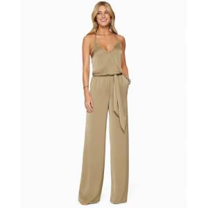 Charlie Front Tie Jumpsuit in Safari - Size: Large