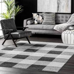 "Buffalo Rugs USA Gray Granite Buffalo Plaid rug - Casuals Rectangle 6' 7"" x 9'"