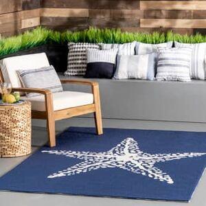 Rugs USA Navy Hacienda Starfish Indoor/Outdoor rug - Coastal Rectangle 4' x 6'