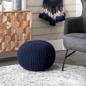 """Rugs USA Navy Knitted Round Pouf furniture - Contemporary Round 14"""" H x 20"""" W x 20"""" D"""